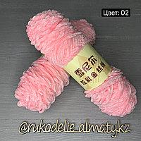 Пряжа для ручного вязания ,плюшевая розовый