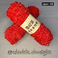 Пряжа для ручного вязания ,плюшевая алый