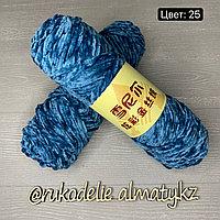 Пряжа для ручного вязания ,плюшевая темно-лазурный