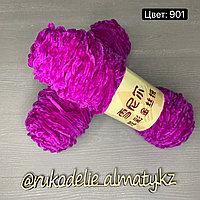 Пряжа для ручного вязания ,плюшевая ярко-розовый