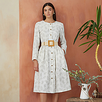 Платье женское на пуговицах молочного цвета с растительным принтом
