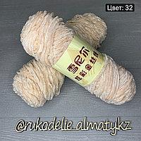 Пряжа для ручного вязания ,плюшевая снежная роза