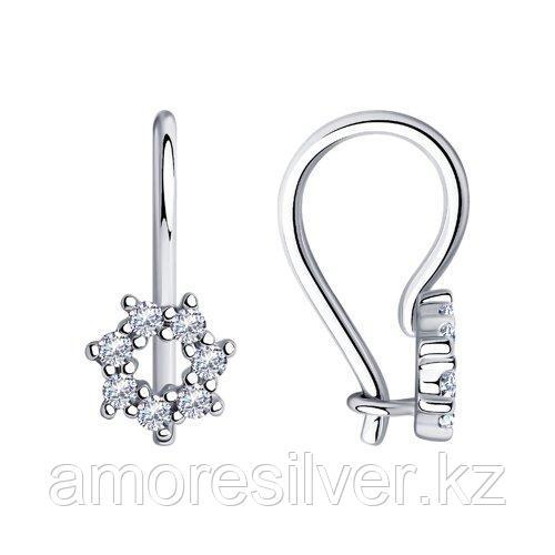 Серьги детям Diamant (SOKOLOV) серебро с родием, фианит  94-120-00675-1