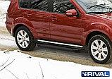 "Порог-площадка ""Black"" + комплект крепежа, RIVAL, Mitsubishi Outlander XL (2007-2012), фото 2"