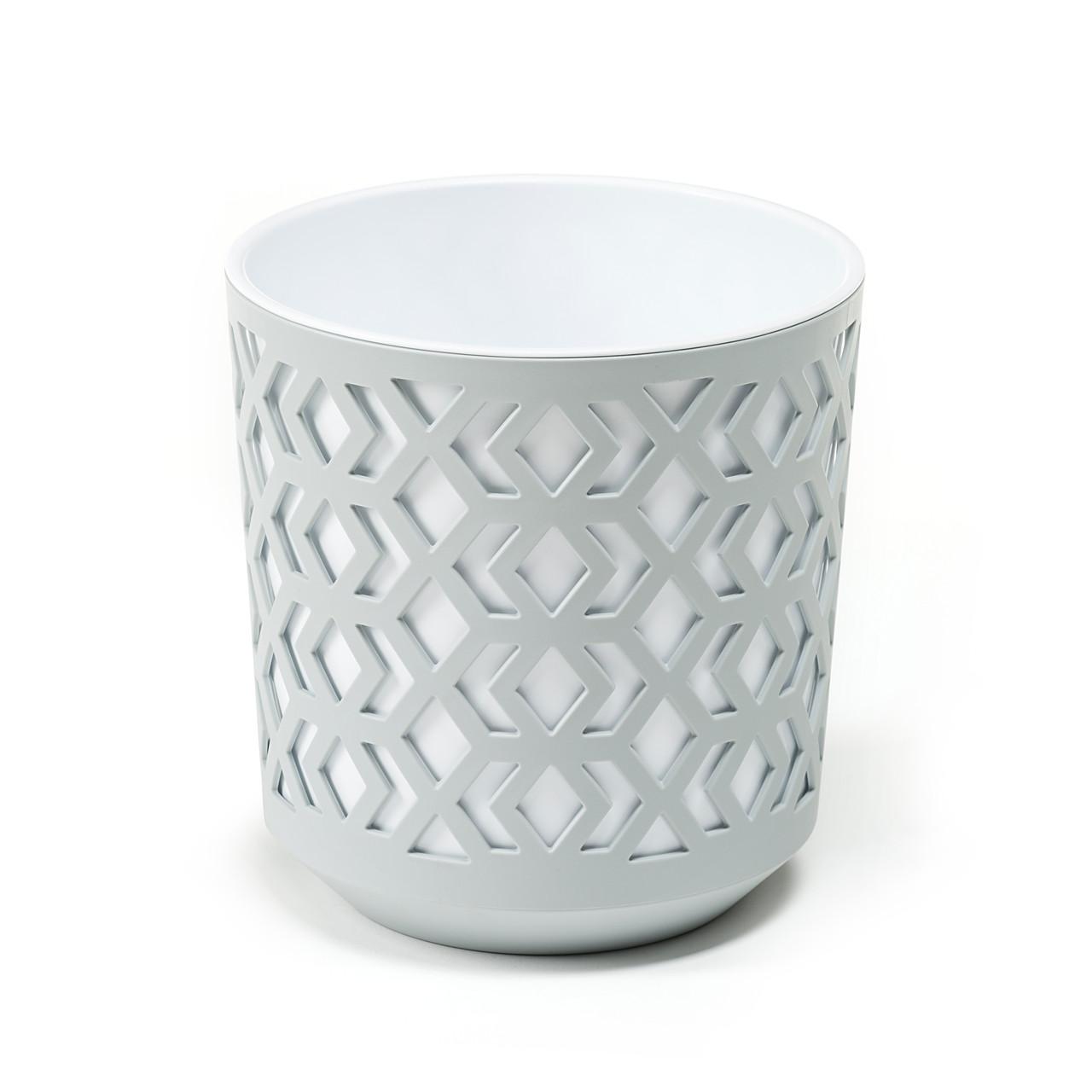 Горшок AZTEK Lamela 190 - светло-серый + белый