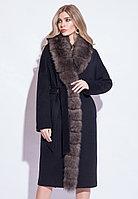 Пальто зимнее, 42-52, утепленное, песец, черное