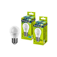Эл. лампа светодиодная, Ergolux, LED-G45-7W-E27-4K, Шар, Мощность 7Вт, Тип колбы G45, Цвет. температура 4500К,