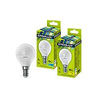 Эл. лампа светодиодная, Ergolux, LED-G45-7W-E14-4K, Шар, Мощность 7Вт, Тип колбы G45, Цвет. температура 4500К,