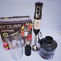 Блендер PROLISS PRO-2912 с чашей измельчения, венчиком и стаканом.