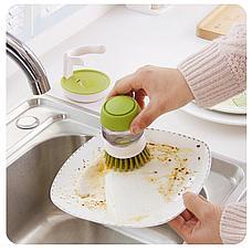 Щетка для мытья посуды с дозатором моющего средства. Черная Пятница!, фото 3