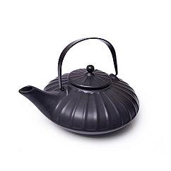 Заварочный чайник 1100 мл с ситечком, ЧЕРНЫЙ (керамика)