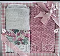 """Подарочный набор полотенец """"Розовый фламинго """""""