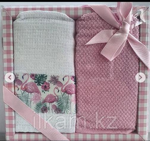 """Подарочный набор полотенец """"Розовый фламинго """", фото 2"""