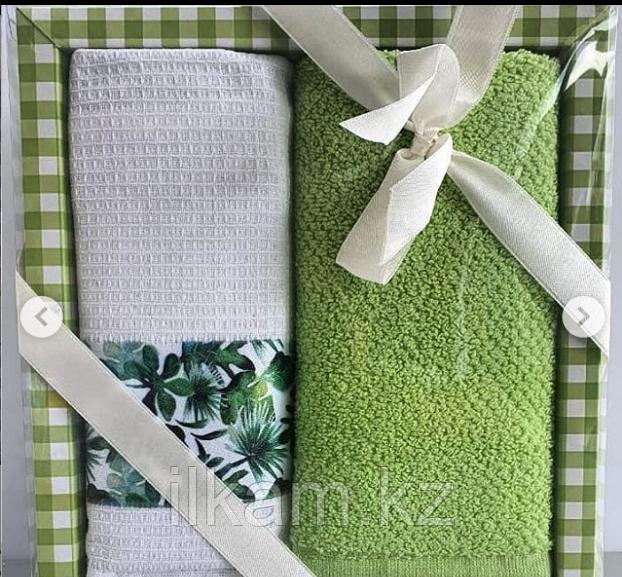 """Подарочный набор полотенец """"Зеленый """""""