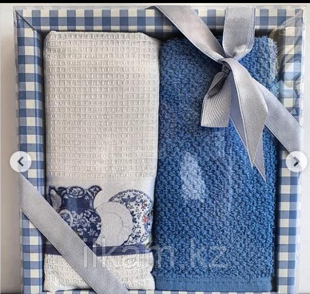 """Подарочный набор полотенец """"Синий """""""