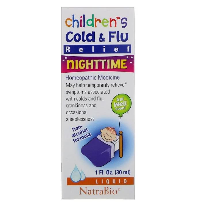NatraBio, Children's Cold & Flu, для ночного использования, 30 мл (1 жидкая унция)