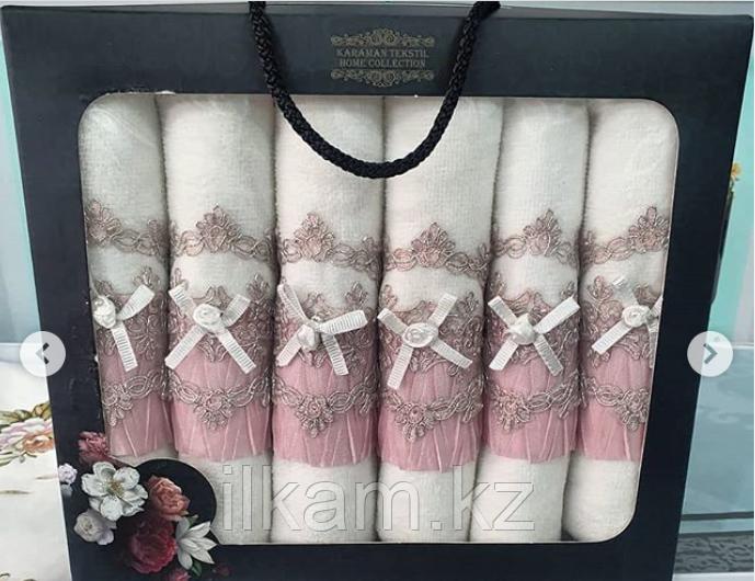 """Подарочный набор салфеток. """"Розовая нежность"""" . Велюр.   6 штук (30х50см)"""