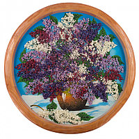 """Декоративное панно на дереве """"Сирень в горшке"""" 50 см рисунок каменная крошка"""