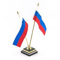 Флагшток с двумя флагами малахит, латунь, позолота