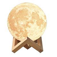 Светильник-ночник «Луна» 3D Moon RGB Lamp с сенсорным управлением на деревянной подставке