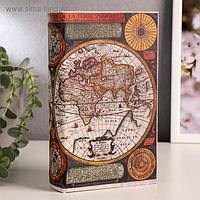 "Сейф-книга дерево ""Карта Колумба"" кожзам 21х13х5 см"
