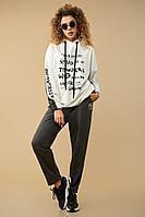 Женский осенний трикотажный серый спортивный большого размера спортивный костюм Сч@стье 9016 56р.