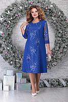 Женское осеннее кружевное синее нарядное большого размера платье Ninele 2276 василек 54р.