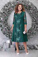 Женское осеннее кружевное зеленое нарядное большого размера платье Ninele 2276 изумруд 54р.