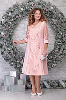 Женское осеннее кружевное розовое нарядное большого размера платье Ninele 2276 пудра 54р.