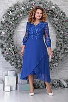 Женское осеннее кружевное синее нарядное большого размера платье Ninele 5813 василек 54р.