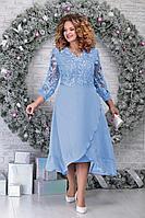 Женское осеннее кружевное голубое нарядное большого размера платье Ninele 5813 голубой 54р.