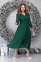Женское осеннее кружевное зеленое нарядное большого размера платье Ninele 5813 изумруд 54р.