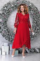 Женское осеннее кружевное красное нарядное большого размера платье Ninele 5813 красный 54р.