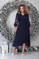 Женское осеннее кружевное синее нарядное большого размера платье Ninele 5813 синий 54р.