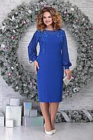 Женское осеннее шифоновое синее нарядное большого размера платье Ninele 5815 василек 54р.