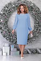 Женское осеннее шифоновое голубое нарядное большого размера платье Ninele 5815 голубой 54р.