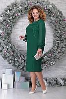 Женское осеннее шифоновое зеленое нарядное большого размера платье Ninele 5815 изумруд 54р.