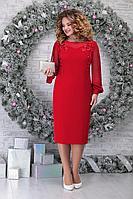 Женское осеннее шифоновое красное нарядное большого размера платье Ninele 5815 красный 54р.