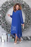 Женское осеннее шифоновое синее нарядное большого размера платье Ninele 7307 василек 52р.