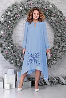 Женское осеннее шифоновое голубое нарядное большого размера платье Ninele 7307 голубой 52р.