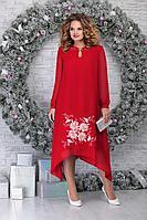 Женское осеннее шифоновое красное нарядное большого размера платье Ninele 7307 красный 52р.