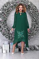 Женское осеннее шифоновое зеленое нарядное большого размера платье Ninele 7307 изумруд 52р.