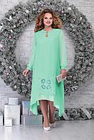 Женское осеннее шифоновое зеленое нарядное большого размера платье Ninele 7307 светло-зеленый 52р.