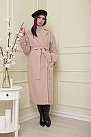 Женское осеннее драповое бежевое пальто SandyNa 13814 кремовый_елочка 46р.