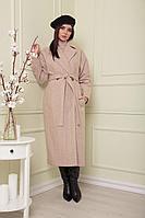 Женское осеннее драповое бежевое пальто SandyNa 13814 кремовый_елочка 52р.