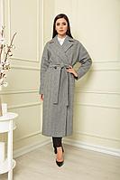 Женское осеннее драповое серое пальто SandyNa 13814 угольный_елочка 50р.