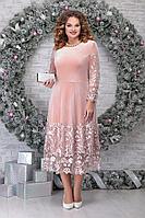 Женское осеннее кружевное розовое нарядное большого размера платье Ninele 5811 пудра 48р.