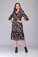 Женское осеннее шифоновое большого размера платье Verita 2071 черный 56р.