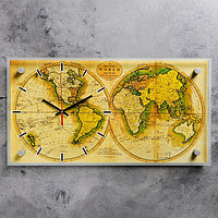 """Часы настенные, серия: Интерьер, """"Карта мира"""", 26х52 см"""