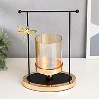 """Подсвечник металл, стекло на 1 свечу """"Стрекоза и колодец"""" чёрный с золотом 29х19,5х13,5 см"""